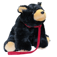 Black Bear with Felt Leash Plush Toy