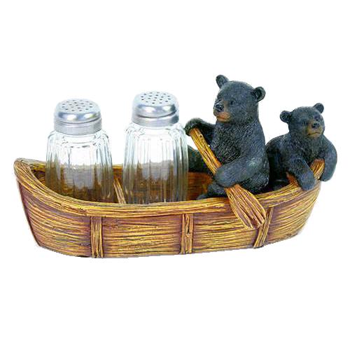bears in boat salt and pepper shaker set