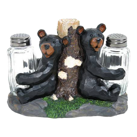 carved bear salt and pepper shaker set