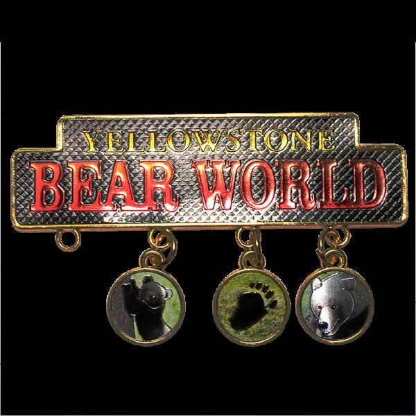 dangle charm magnet Yellowstone Bear World logo